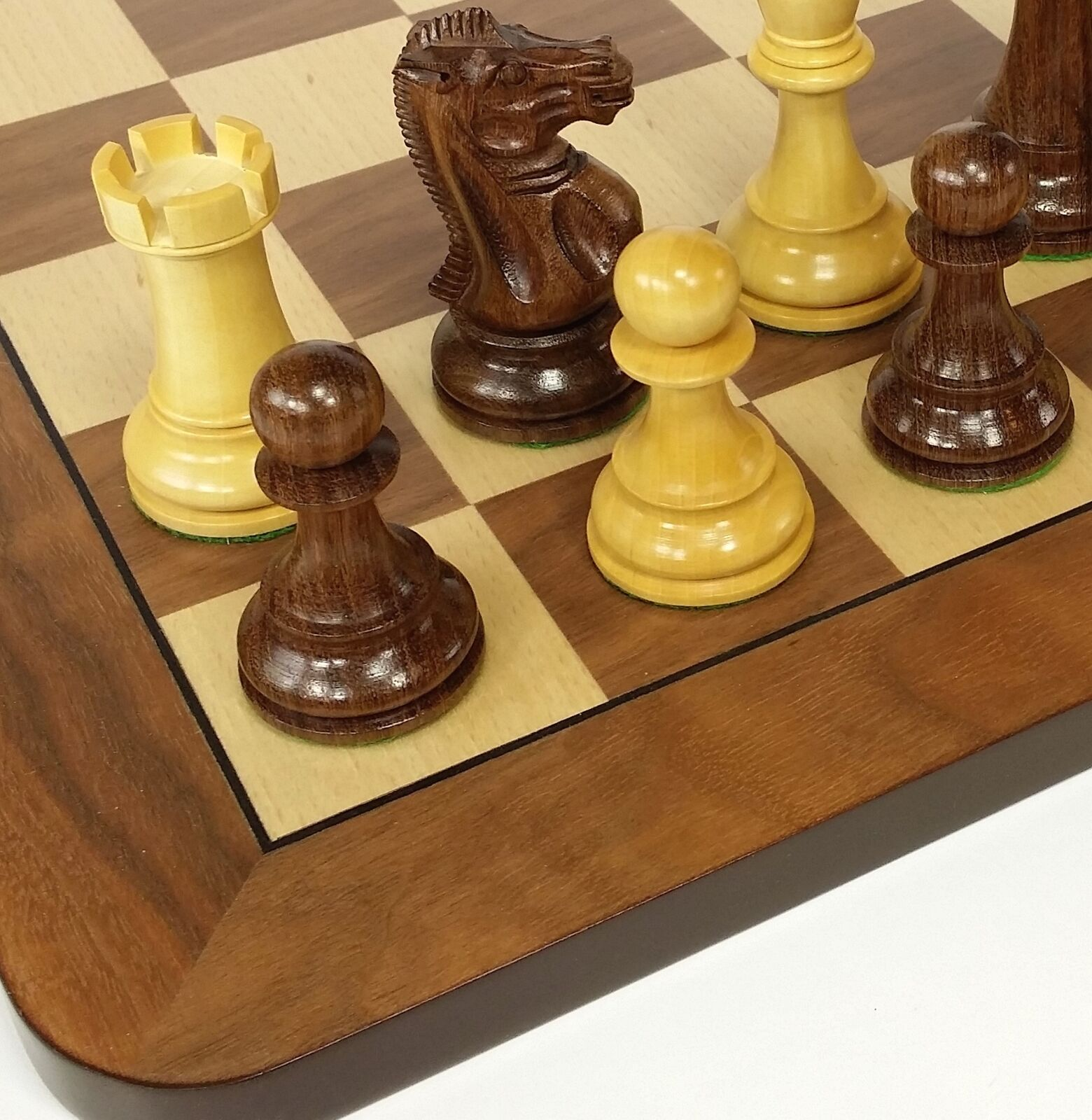 Sheesham 4 5 8  KIng Anderssen Staunton Wood Chess Set Large 19  Walnut Board