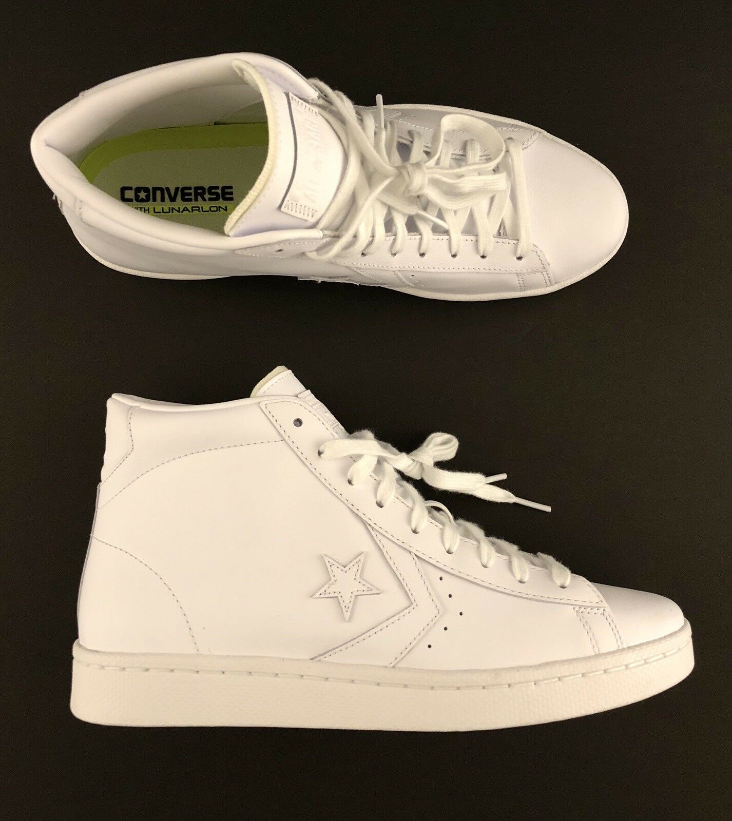 Converse Pro Leather 76 Mid All Star Triple Weiß Casual schuhe (155335C) Größe 9
