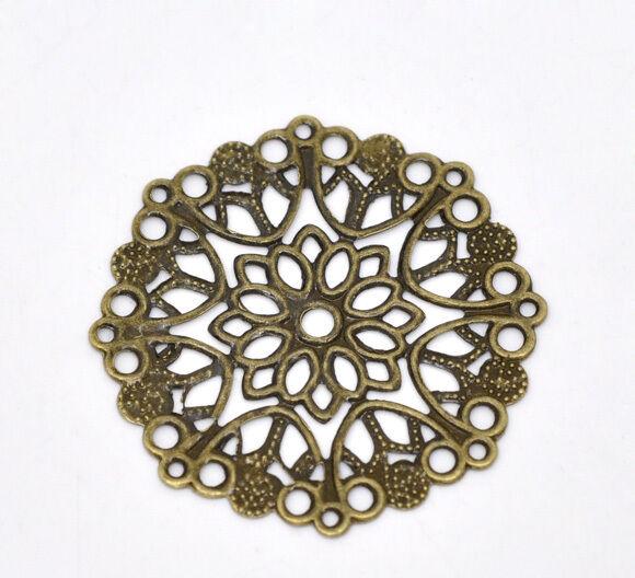 50 Bronze Tone Filigree Flower Wraps Connectors 35mm