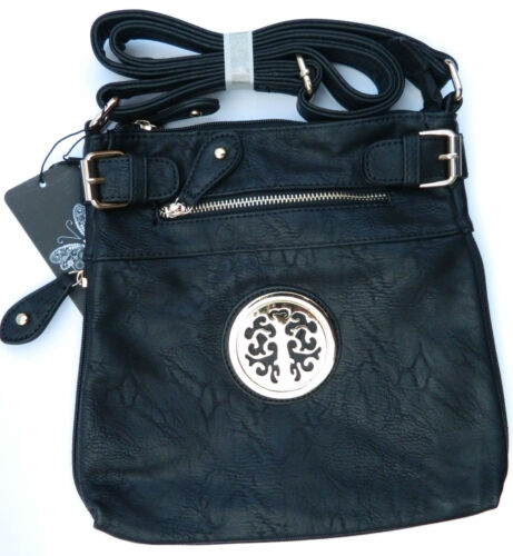 Women Black Crossbody Handbag Shoulder Messenger Side Bag Ladies Satchel Bag