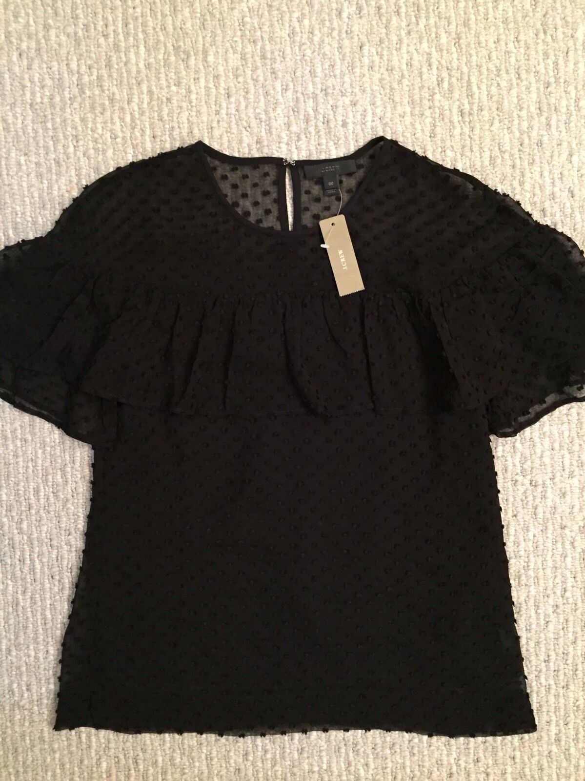 New Edie Top In Texturot Clip Dot Größe 00 schwarz Blouse F8992  SOLD OUT