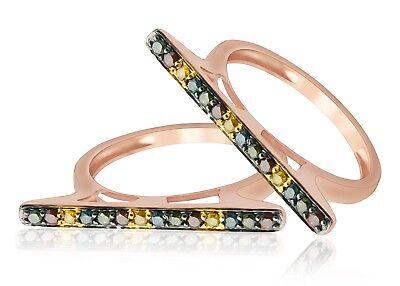 Goldenstar 0.25Ct Round Green Color Diamond Fancy Designer Ring