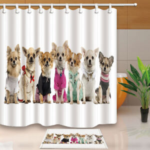 Image Is Loading Hot Cute Chihuahua Dog Shower Curtain Bathroom Deocr