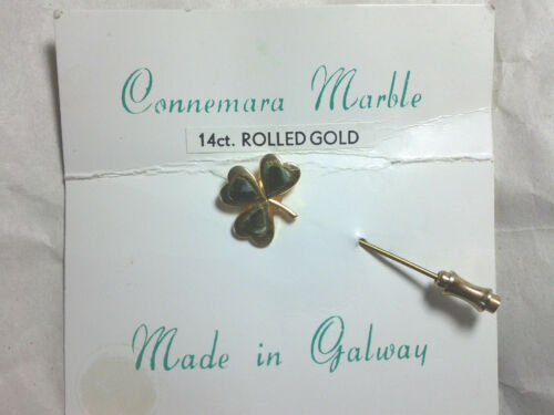 Connemara Marble 14ct Rolled Gold 3 leaf clover good luck Irish Galway St. Pat's