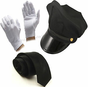 MEN-039-S-black-Autista-Cappello-Cravatta-Guanti-Limo-driver-Costume-Accessorio