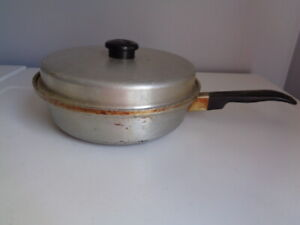 Vintage Kitchen Craft Stainless Frying Pan Poacher Insert W Lid And