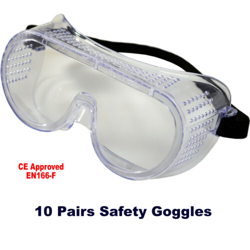 Eye Protection PPE Direct Vent EN166 10 Pairs x Safety Goggles GENERAL PURPOSE