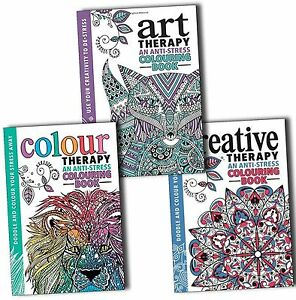 NEW 2 COLOUR THERAPY ANTI STRESS ADULT COLOURING BOOKS 64 PATTERNS PMS A4