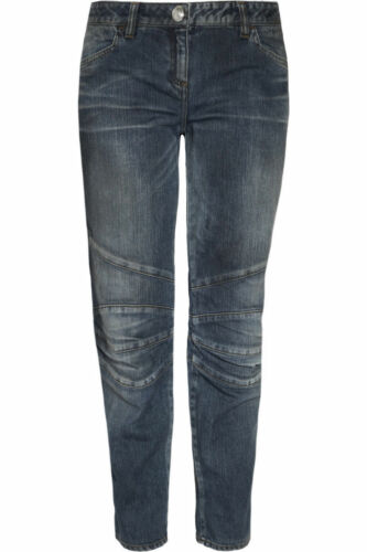 Jeans Denim Paris Pants £800 Blue Balmain New Uk M 42 Biker Distressed Style F YCtwxx4q