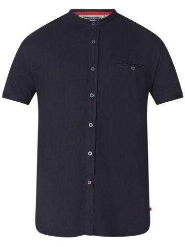 100102 D555 DUKE Homme Chemise Sans Col noir à manches courtes Pique S M L XL XXL