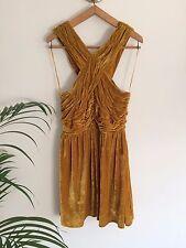 TOPSHOP Orange Crushed Velvet Cross Over Halter Strap Vintage Style Dress UK 12
