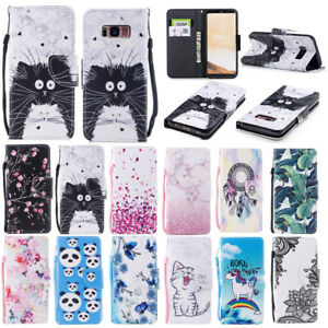 Housse-Etui-Coque-Painted-Motif-Flip-Portefeuille-Case-Cover-Pour-iPhone-Samsung