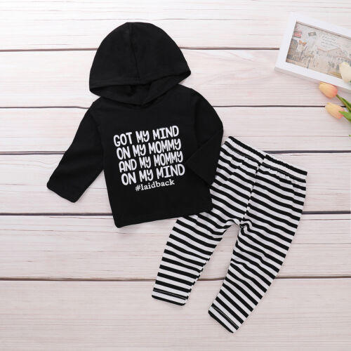 2PCS Newborn Toddler Infant Baby Boy Girl Clothes Hooded Tops+Pants Outfits Set