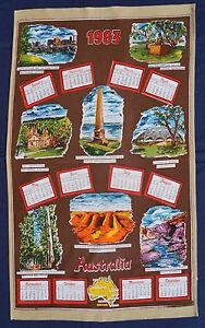 1983-Calendar-Vintage-Retro-Vintage-Souvenir-COTTON-Tea-Towel-Australia-Sights