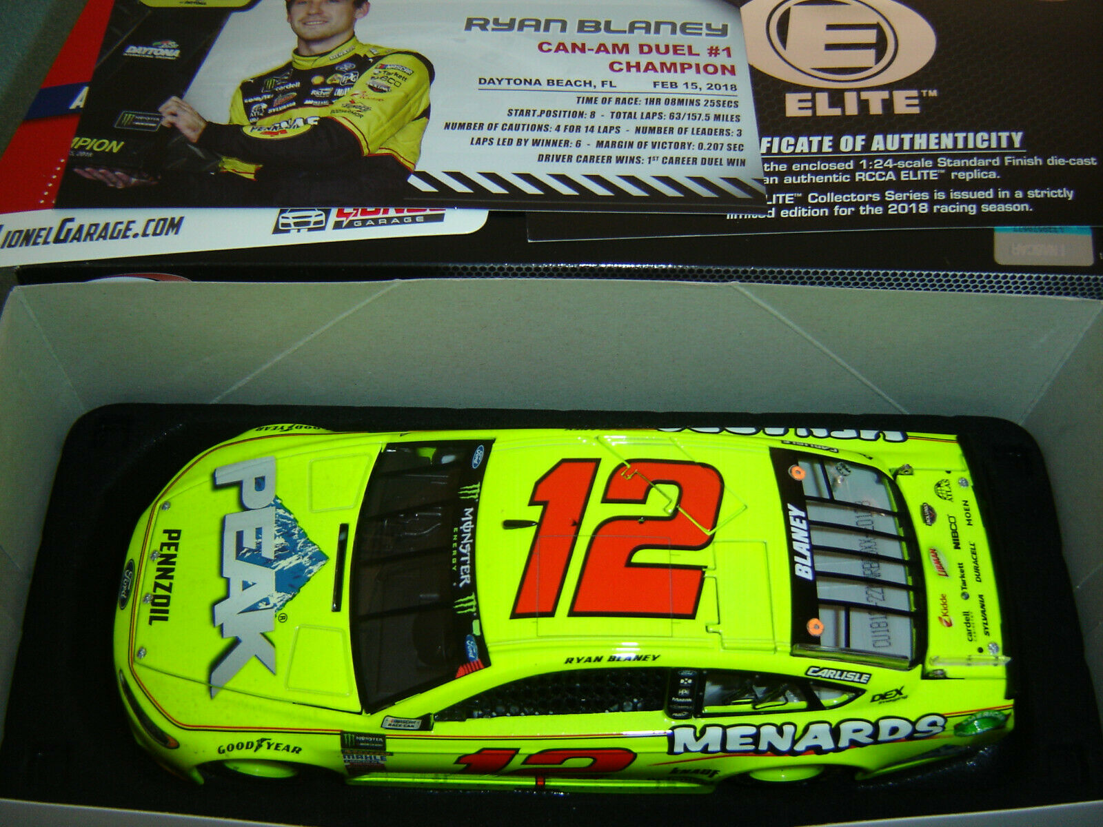 12 Ryan Blaney Menards Can-Am Duel   1 Sieg 2018 Action Elite 1 24 1 253