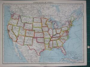 Map Of America Kansas.Details About 1952 Large Map United States Of America Texas Florida California Kansas Ohio