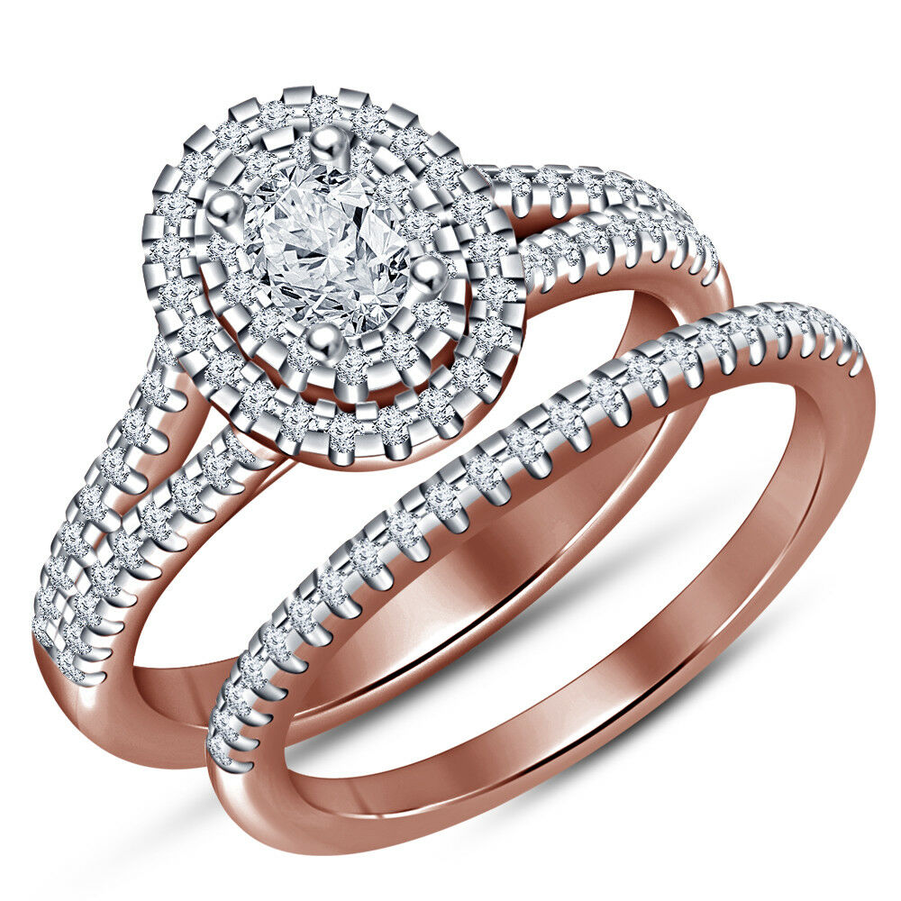 Ladies 10K pink gold Over 1.50ct oval Diamond Halo Bridal Set Engagement Ring