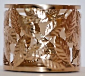 Bath-amp-Body-Works-Gold-Leaves-3-Wick-Candle-Sleeve-Holder-New