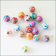20 New Charms Handmade Polymer Fimo Clay Round Crystal Spacer Beads Mixed 8mm