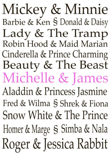 Famous couples personalised print 2 designs 4 frame options or print only