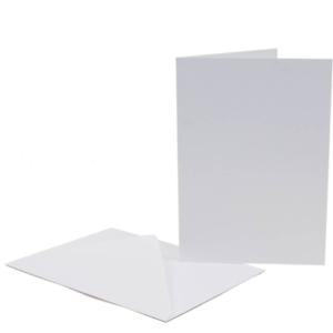 50 x 12.7cm x 17.8cm Bianco Biglietti Vuoti 250gsm & Buste 100gsm Creazione