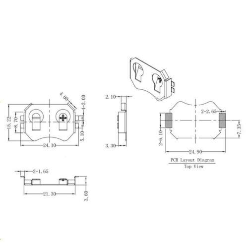 SMT SMD Button Coin Cell CR2032 Battery Holder CR2032 Batter  10pcs