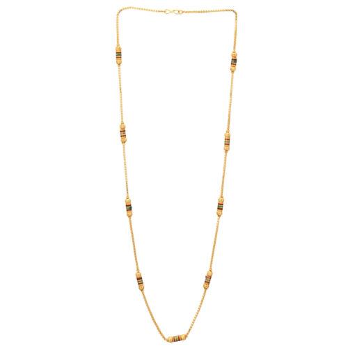 Indian Women Gold polonais multicolores Design Collier long Chaîne livraison gratuite
