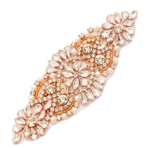 Crystal-Rhinestone-Applique-Rose-Gold-beads-and-Setting-White-Pearl-5-25-034-GB620