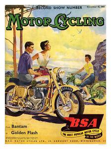 Vintage BSA Golden Flash Motor Cycle Advertisement  Poster A3 Print