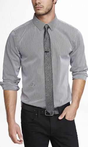 New Express Mens Modern Fit Pinstriped Button Down Dress Shirt XS-XL Colors