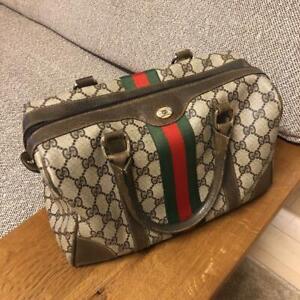 89cf8bb5d6d5 GUCCI GG Shelly Line 2Way Shoulder Hand Boston Bag Leather Vintage ...