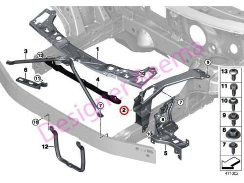 JS BMW 2/' Série F45 F46 X1 X2 F48 F49 F39 Mini F Panneau avant support-Gauche