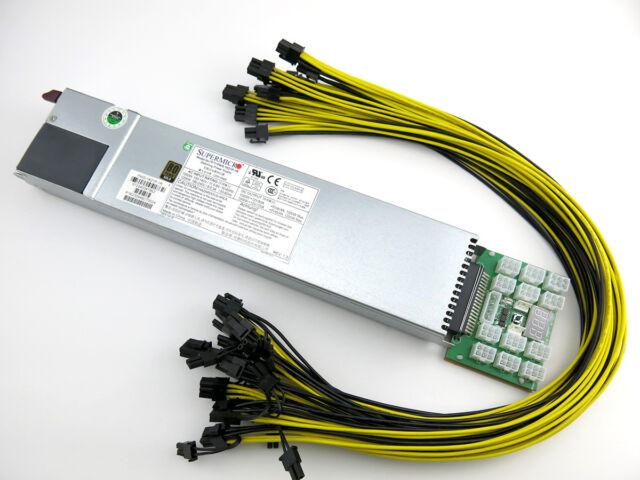 Delta 94/% 1400 Watt Chain Sync GPU Mining Power Supply 200-240V Open Air Rig PSU