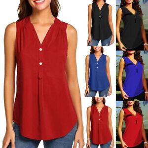 Women-Summer-V-neck-Button-Sleeveless-Shirt-Casual-Chiffon-Tank-Tunic-Top-Blouse