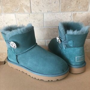 cc5c3372d37 Details about UGG Mini Bailey Button Bling Swarovski Atlantic Green Suede  Boots Size 5 Womens