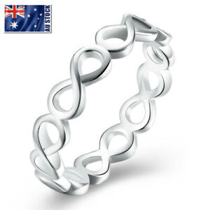 925-Sterling-Silver-Filled-Infinity-Plain-Band-Wedding-Engagement-Ring-Size-6-9