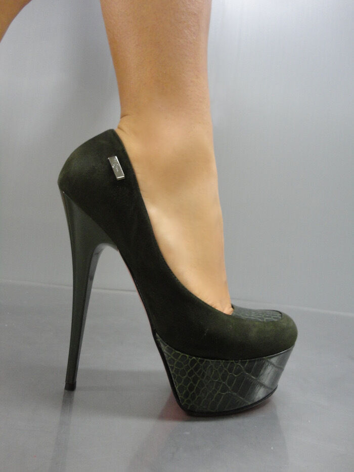 Descuento barato MORI ITALY PLATFORM HIGH HEEL PUMPS SCHUHE SHOES KROCO LEATHER GREEN VERDE 40