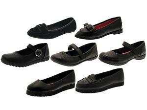 18de4846 Girls Black School Shoes Mary Jane / Slip On Faux Leather Junior ...