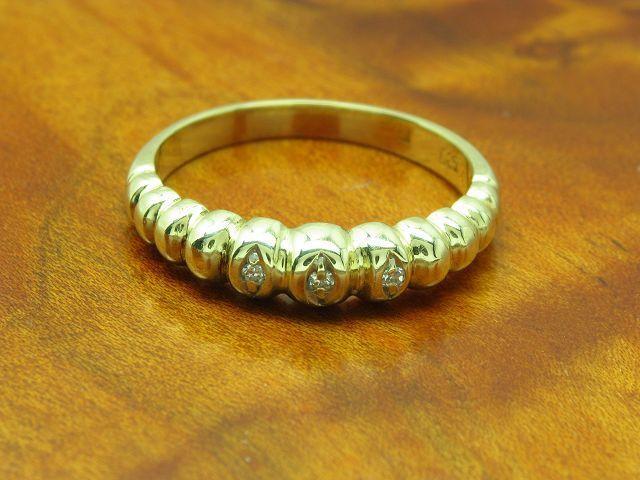 14kt 585 yellowgold Ring mit Diamant Besatz   3,5g   RG 54,5