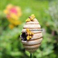 Miniature Bee Skep Honey Bee Hive W/ Pick For Fairy/faerie Gnome Garden 1573