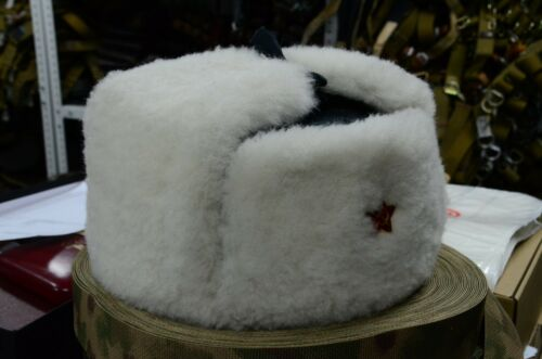 New White Real Sheepskin Fur Authentic Soviet and Russian army hat ushanka