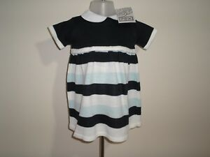 be1df46ff35a Baby Girls Clothes Spanish Style Dress Knitted Navy Blue white stripe ...