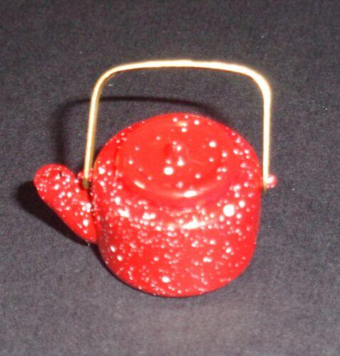 Red Splattered Dollhouse Miniature Teapot