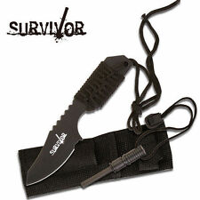 "Couteau Black Full Tang Survival Fire Starter Hunting Camping Knife 7"" overall"