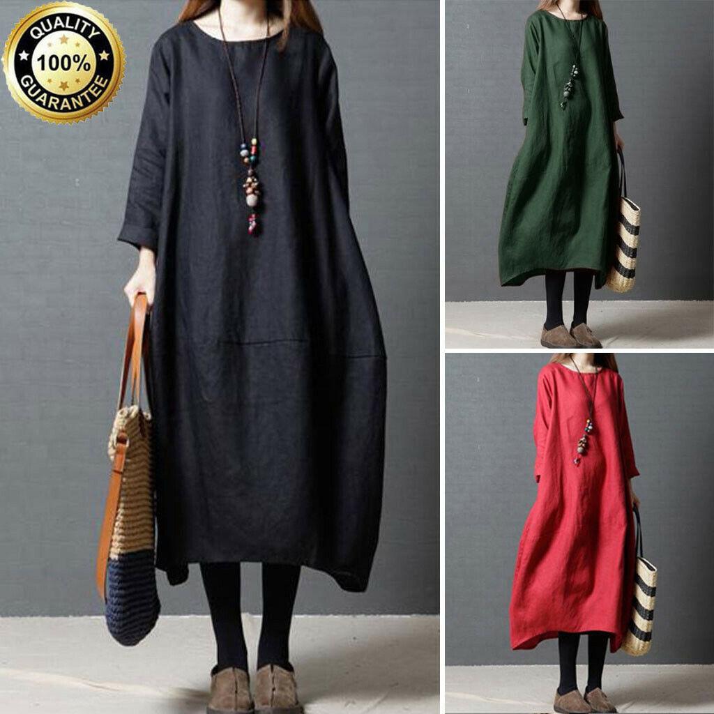 Fashion Womens Cotton Linen Casual Loose Solid Maxi Long Sleeve Long Dress Plus