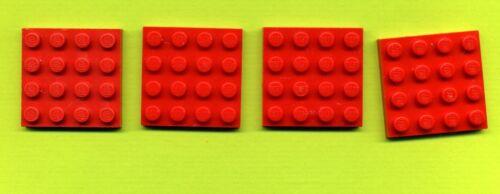 -- rojo 4 x 4 convención 4 unid placa de masa 3031 Lego
