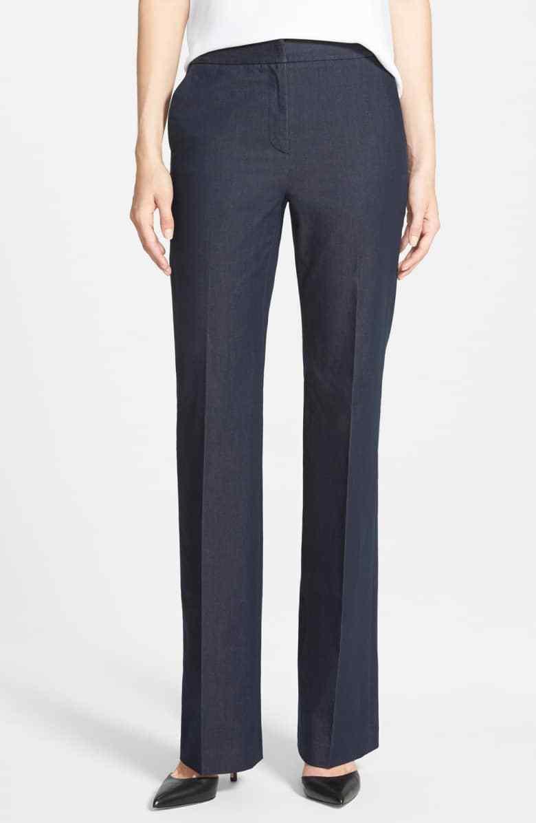 NWT Halogen Stretch Denim Trousers, Size 4 - bluee