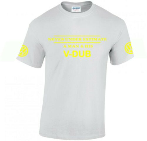 V-DUB volkswagen T-shirt ..VW Car Enthusiast top..arm logos novelty funny gift