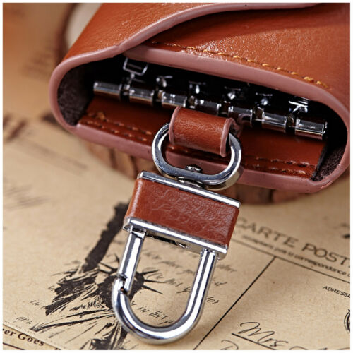 Unisex Leather Key Case Wallet Pouch 6 Snap Closure Hooks 1 Key Ring Card Slots