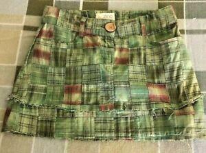 Zinc-jrs-sz-0-MADRAS-Mini-Skirt-28-034-waist-14-034-long-Green-Patch-2-Pkt-Cotton